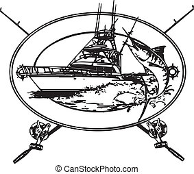 Offshor fishing boat with Marlin coming out of water in a background design