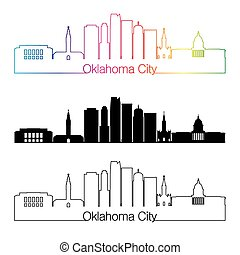 Oklahoma City V2 skyline linear style with rainbow