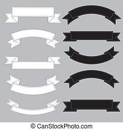 Old ribbon banner ,black and white. Illustration eps10