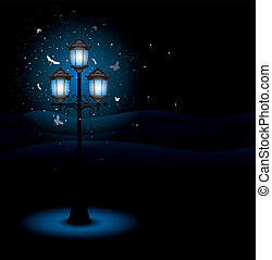 Old street lamp at night. Detailed vector.