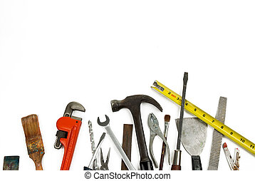 Old used and worn tools isolated over white
