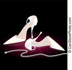on a dark background there are white lady's shoes and beads