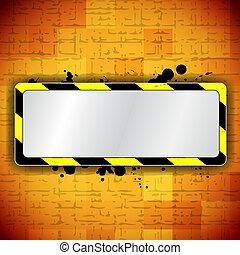 Orange background with frame and warning stripe