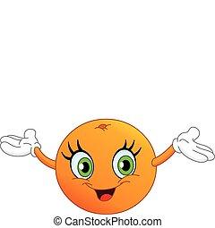 Cartoon orange raising her hands