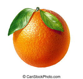 Orange fresh fruit with two leaves, on white background. Clipping path included.