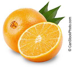 Orange fruit isolated on white background. Clipping Path