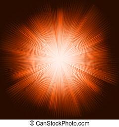 Orange light burst with sparkling stars. EPS 8