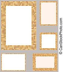 Orange pixel mosaic page layout border set