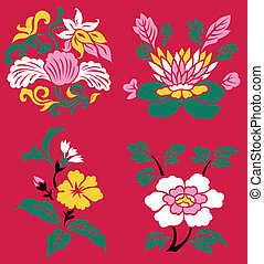oriental flower plant illustration
