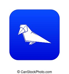 Origami bird icon blue