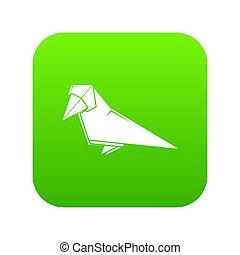 Origami bird icon green