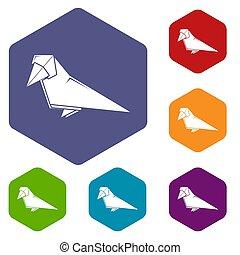 Origami bird icons hexahedron