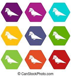 Origami bird icons set 9