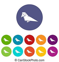 Origami bird icons set color