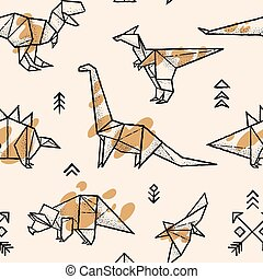 Origami dinosaurs with splashes seamless pattern. Trendy hand drawn vector illustration