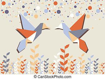 Origami hummingbird couple over beige