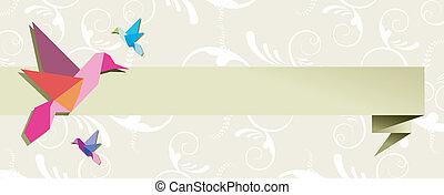 Origami hummingbird group banner floral design