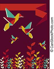 Origami hummingbird spring time