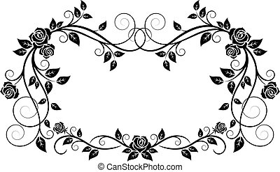 Ornamental frame with rose flowers