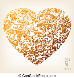 Floral Ornament Heart Pattern, editable vector illustration - EPS8