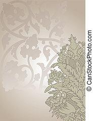 Ornate Flower And Leaves Vintage Background