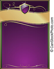 Ornate Purple, Green & Gold Page with Shield