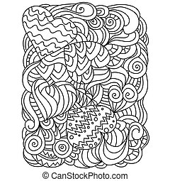Outline hearts and weaves, zen coloring page for Valentine's day