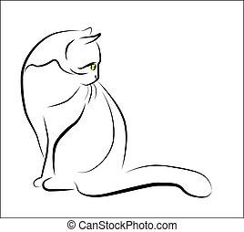 outline illustration of sitting cat