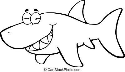Outlined Happy Shark Cartoon Character
