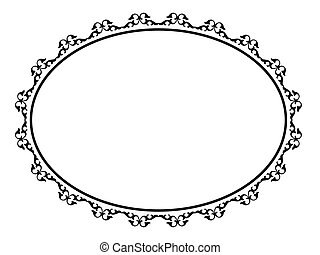 Vector oval black ornamental decorative frame pattern