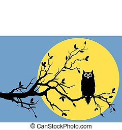owl with moon, vector