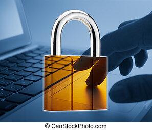 padlock superimpose onto laptop, internet security concept
