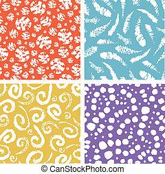 Paint texture elements colorful seamless pattern set