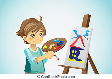 A vector illustration of a kid painting on a canvas