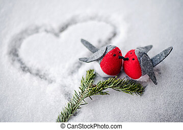 Pair of two birds on the snow