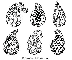 Hand drawn Henna and Paisley elements