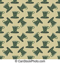 Pale seamless kitchen pattern with green cups. Beige background. Cafe dish print.