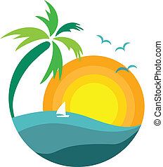 palm tree with sunset view, travel icon