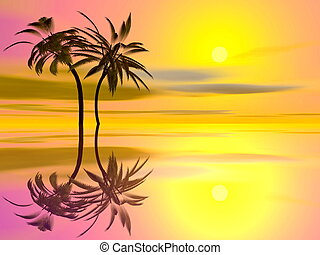 Palm trees holidays - 3D render