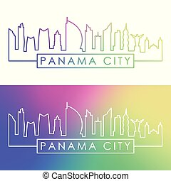 Panama City skyline. Colorful linear style.