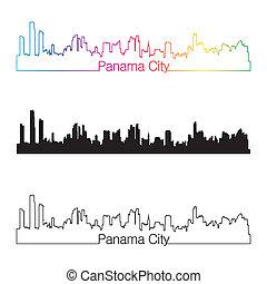 Panama City skyline linear style with rainbow
