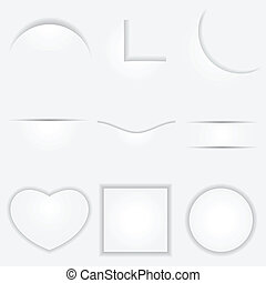 illustration of set of different shape paper cut with shadow