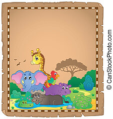 Parchment with African animals 1