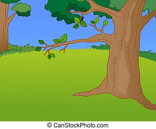 a nice drawing of trees and lawns