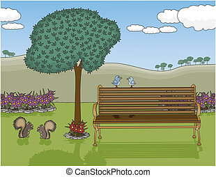 Vector art in Illustrator 8. A peaceful park with an inviting bench on a glorious day. All objects on separate layers including the animal %u201Ccouples%u201D.