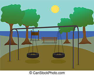 Scenic silhouette park playground with lake, trees, bicycle