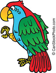 Scalable vectorial image representing a colorful parrot with yellow beak, isolated on white.