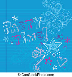 Party Time Birthday Doodles Vector
