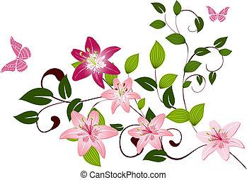 Pattern branch flower Lilies
