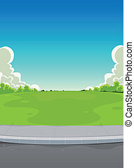 Illustration of a cartoon urban landscape background scene, with road, pavement, green park and horizon behind, for miscellaneous type of announcement, like neighbours parties, music festival or else